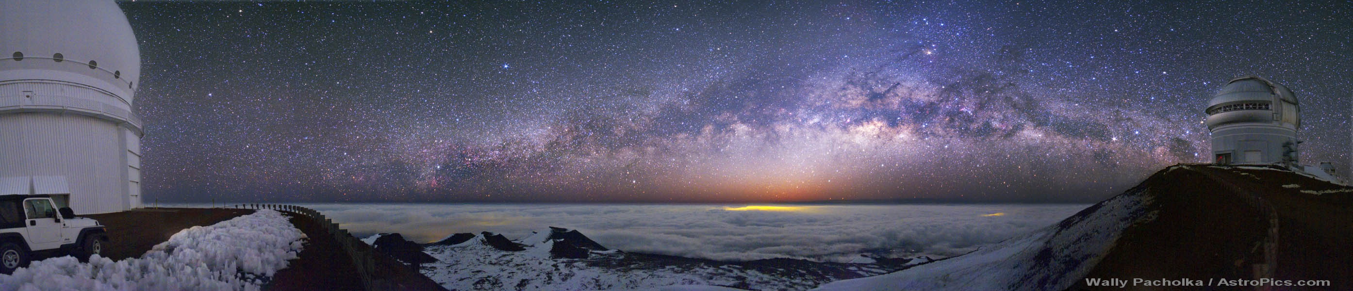 Panorama de la Vía Láctea desde el Mauna Kea