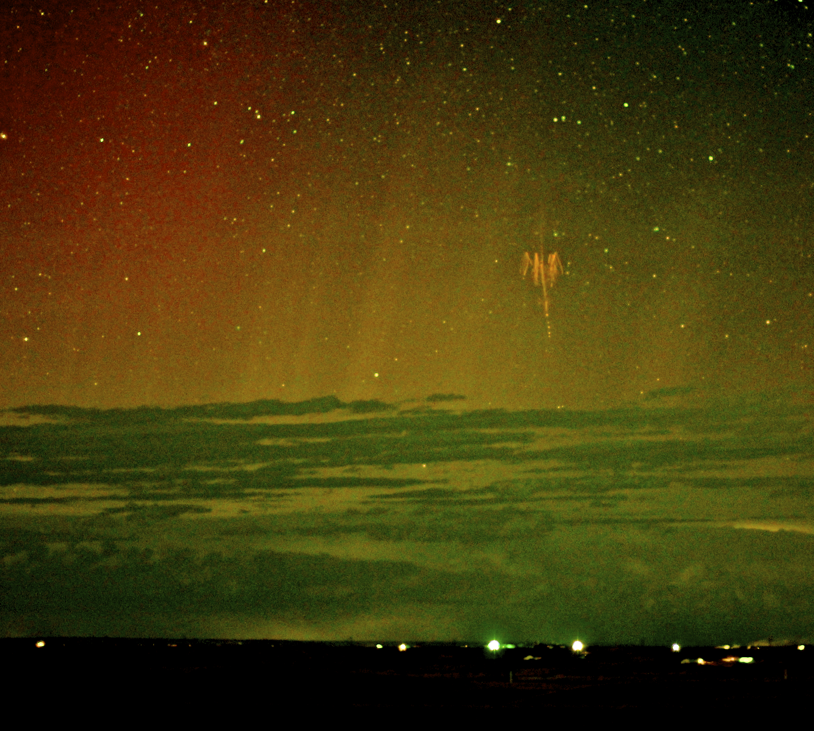 2013 May 22 - Red Sprite Lightning with Aurora