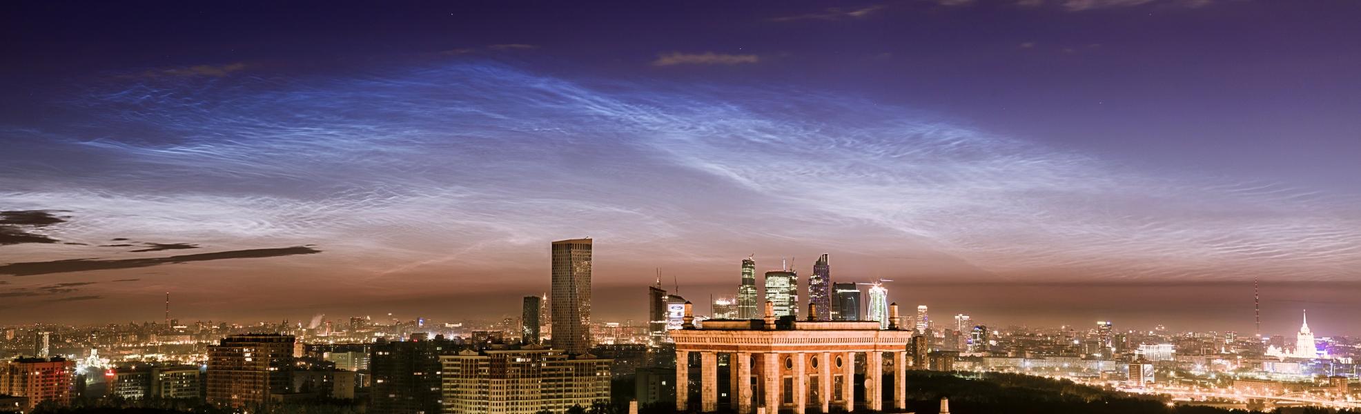 Nubes noctilucentes sobre Moscú