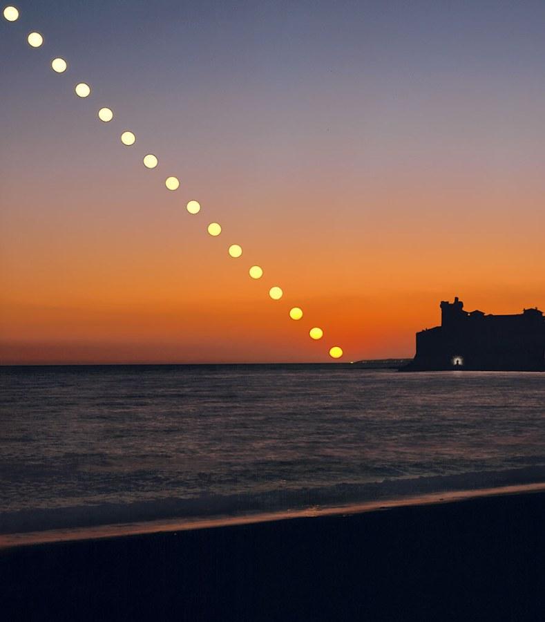 Puesta de Sol de solsticio y autorretrato