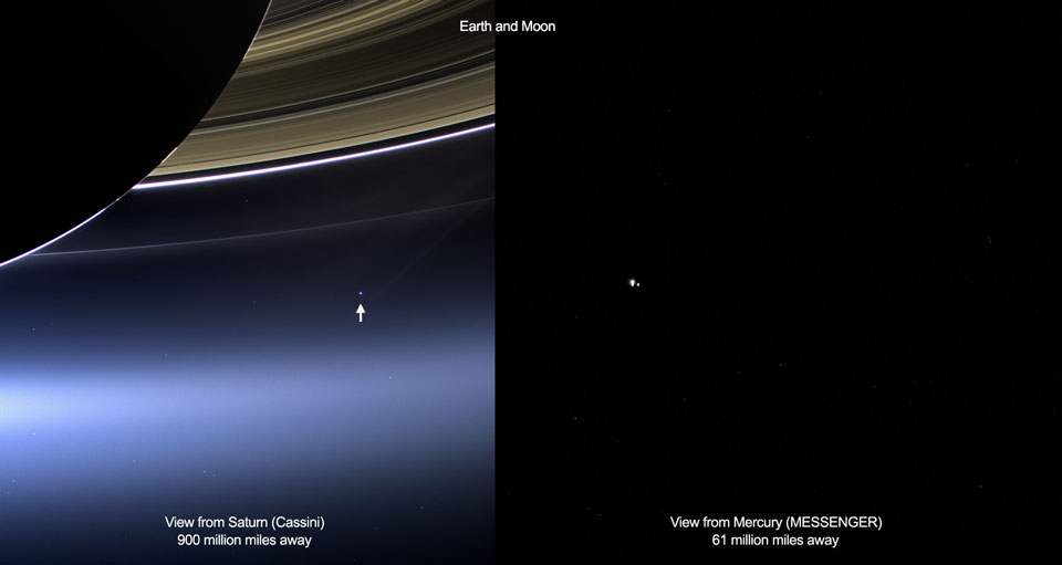 Earth as seen from Saturn and Mercury