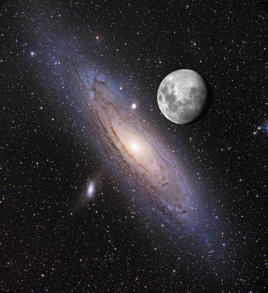 La Luna y Andrómeda