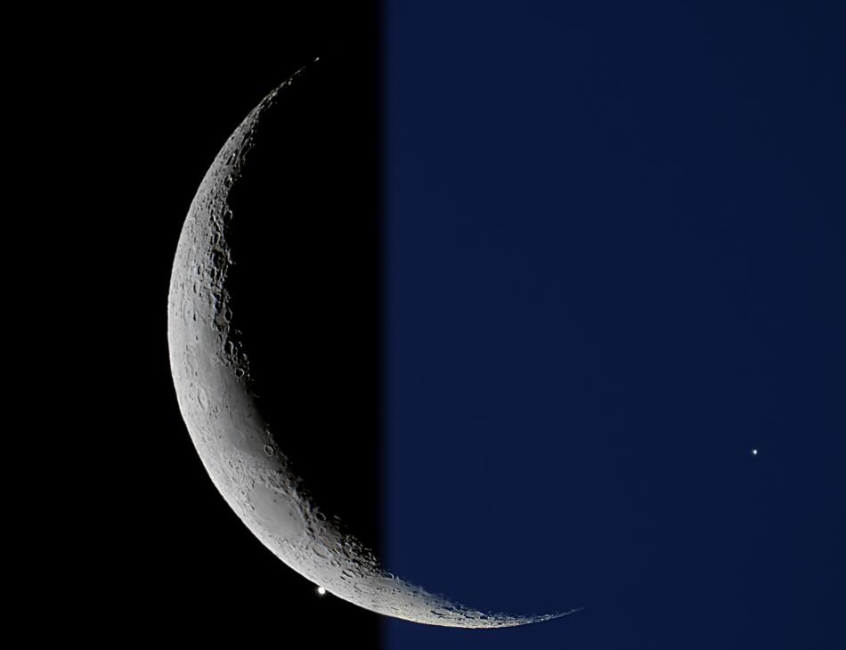 La Luna creciente se encuentra con la estrella de la tarde