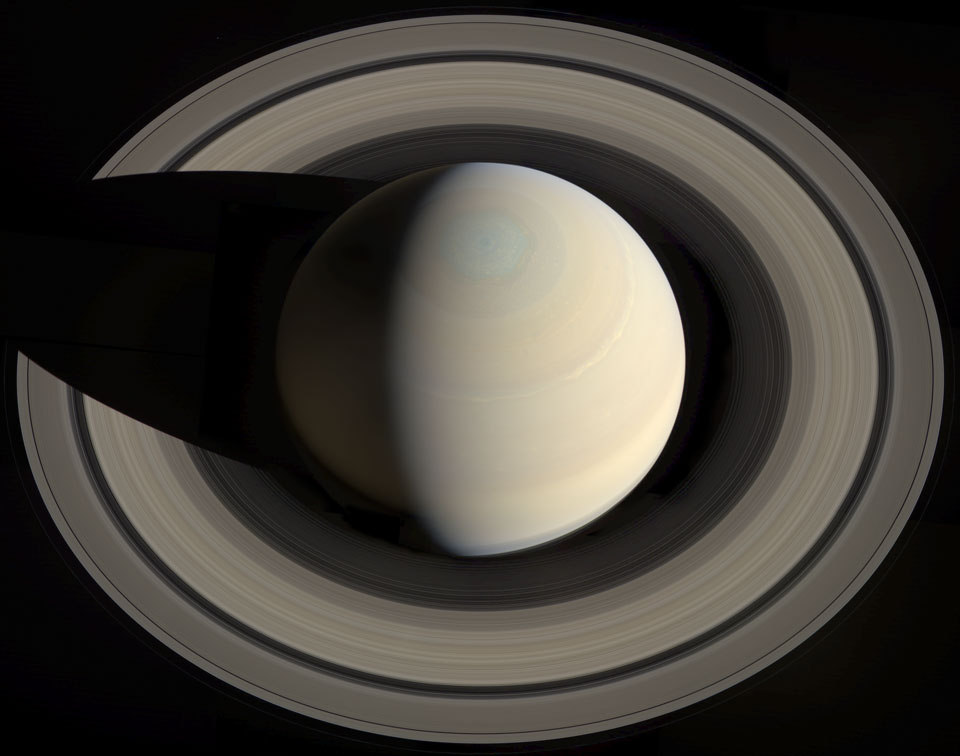 Saturn from Above. Image Credit & License: NASA/JPL/SSI; Composition: Gordan Ugarkovic