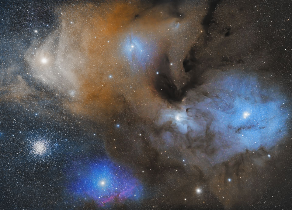 APOD: 2013 December 3 - The Colorful Clouds of Rho Ophiuchi