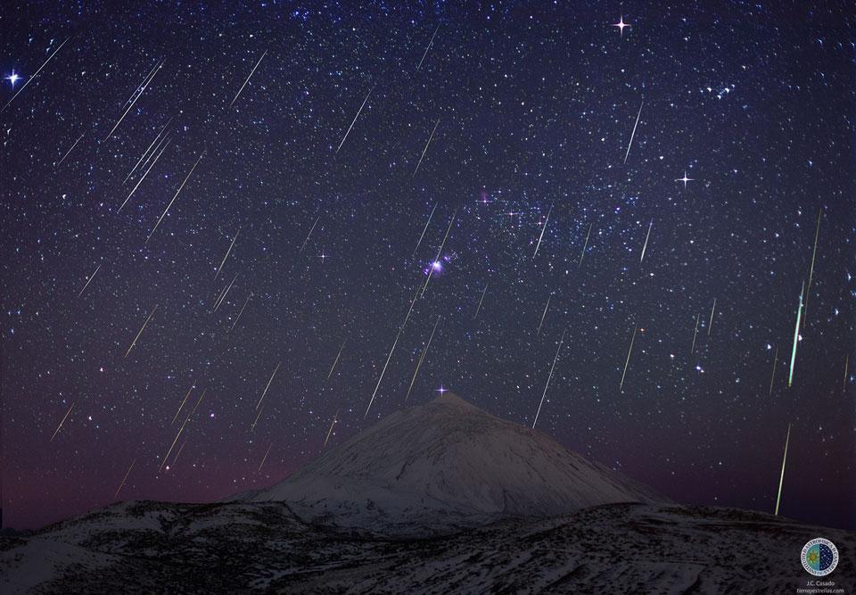 Los meteoros de las Gemínidas sobre el volcán del Teide