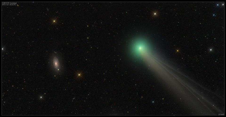 El cometa Lovejoy y la galaxia M63