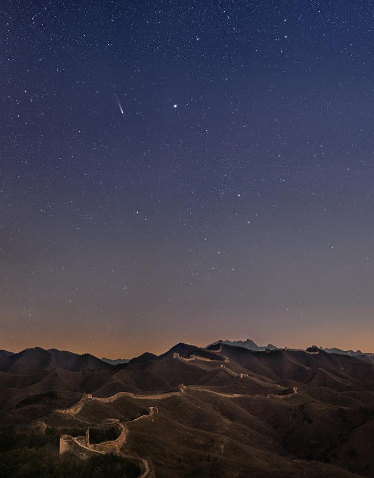 El cometa Lovejoy sobre la Gran Muralla