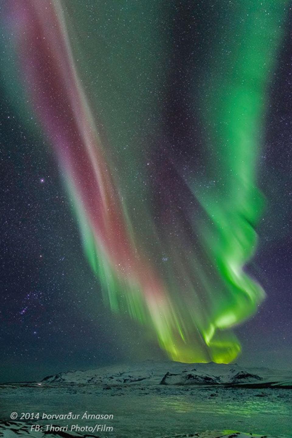 Orion dan Aurora atas Islandia