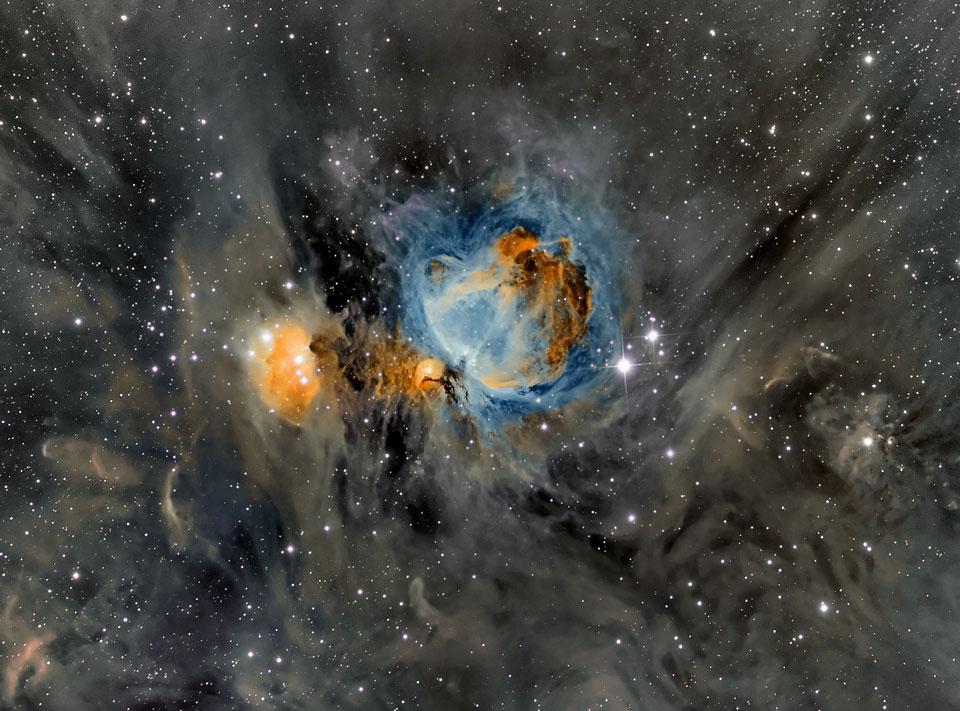 La nebulosa de Orion rodeada de polvo