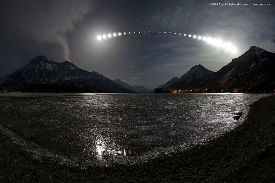 Eclipse sobre el lago Waterton