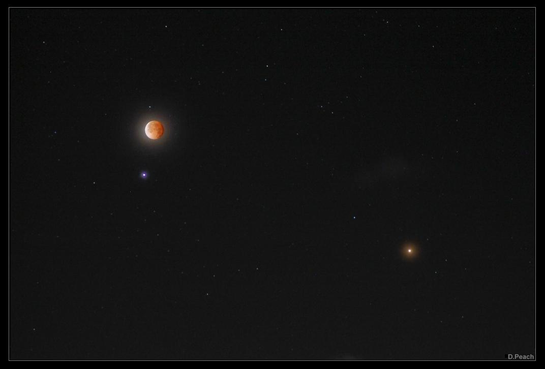 Spica, Marte y la Luna eclipsada