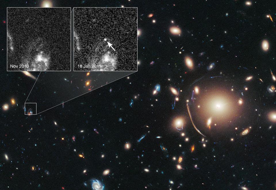 Un cúmulo de galaxias aumenta una supernova distante