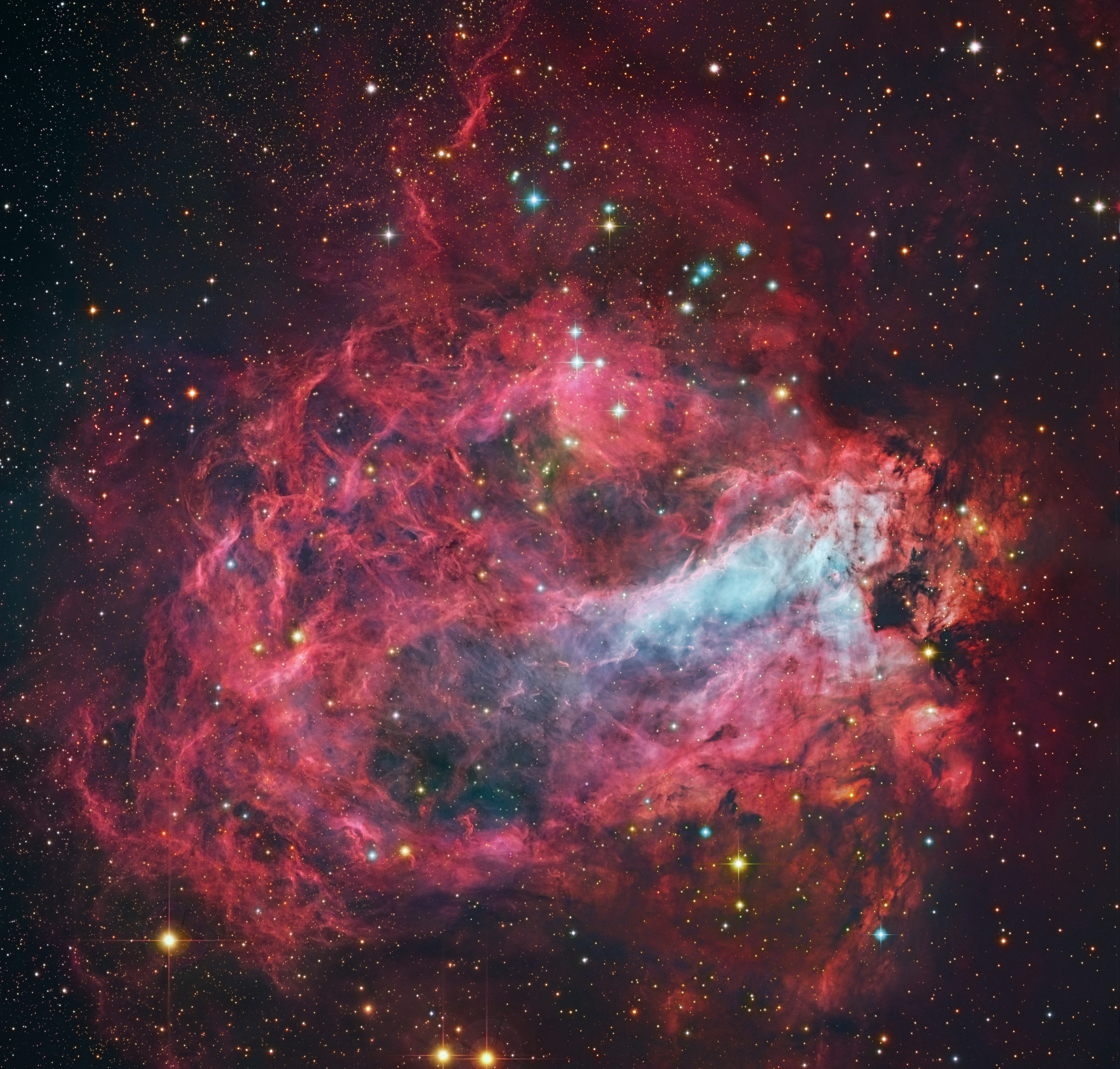The Omega Nebula M lightyears away in the constellation