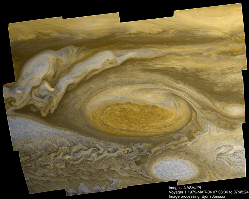 Jupiter Great Red Spot dari Voyager 1