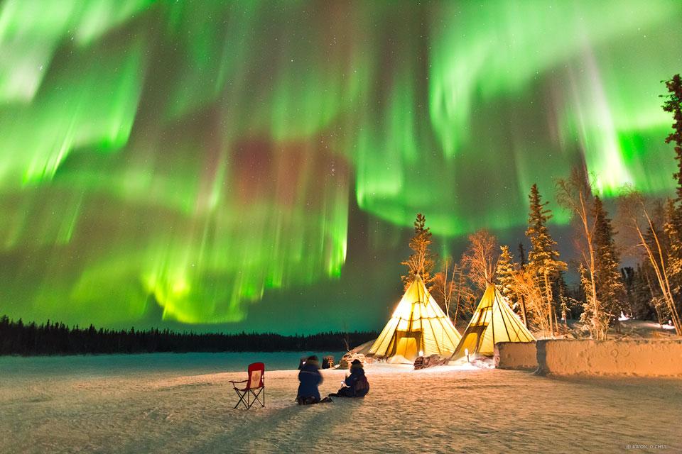 Auroras sobre el norte de Canadá