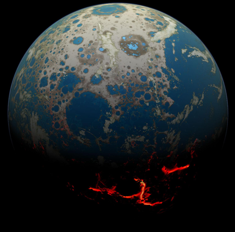 APOD August Four Billion BCE Battered Earth - Earth's four oceans