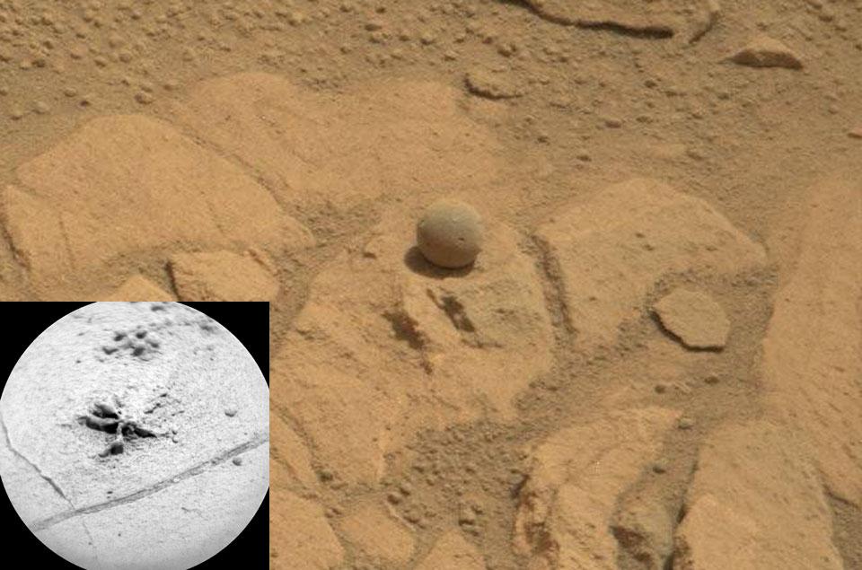 Rocas extrañas cerca de Pahrump Hills en Marte