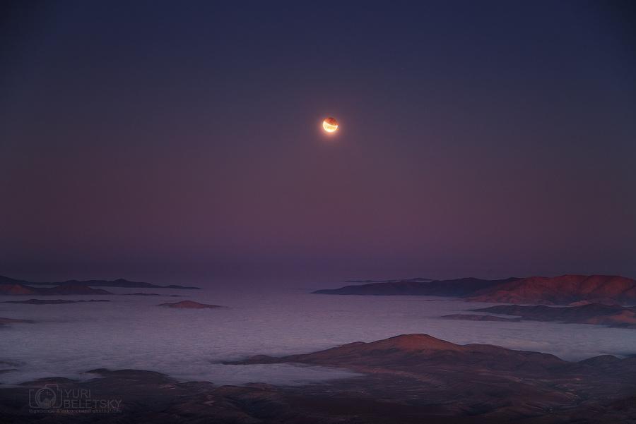 Eclipse en la puesta de la Luna