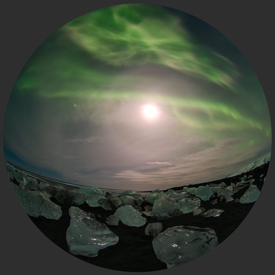 Aurora sobre hielo