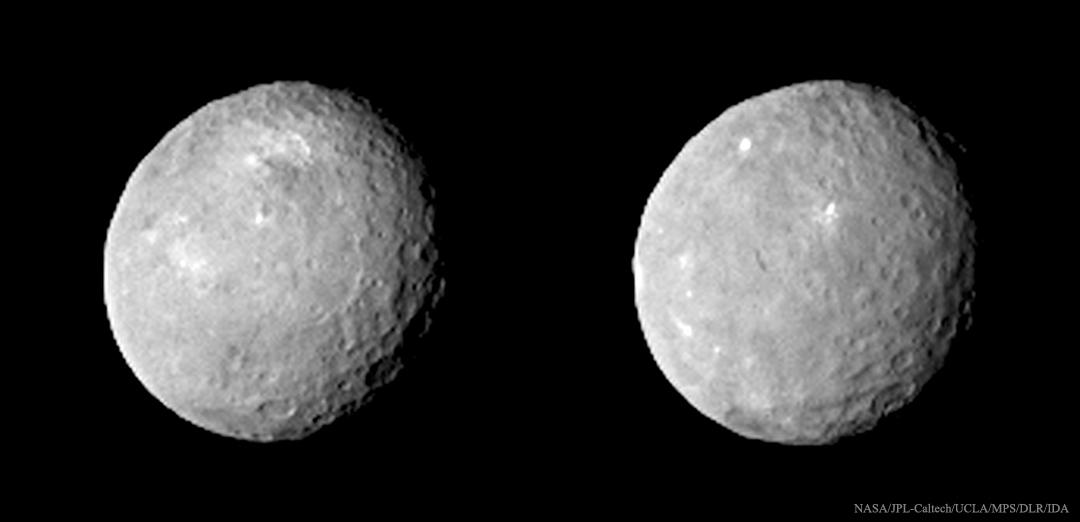 Tmavé krátery a jasné skvrny na trpasličí planetě Ceres