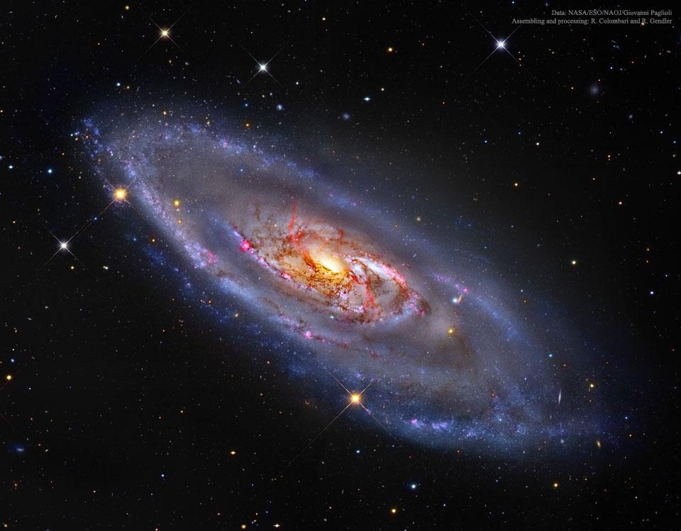 Мозаичное изображение спиральной галактики Мессье 106 — галактика в созвездии Гончие Псы