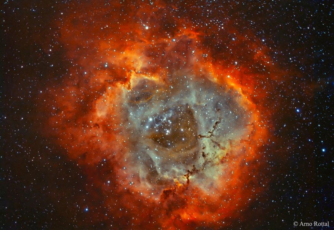 La nebulosa Roseta en hidrógeno y oxígeno