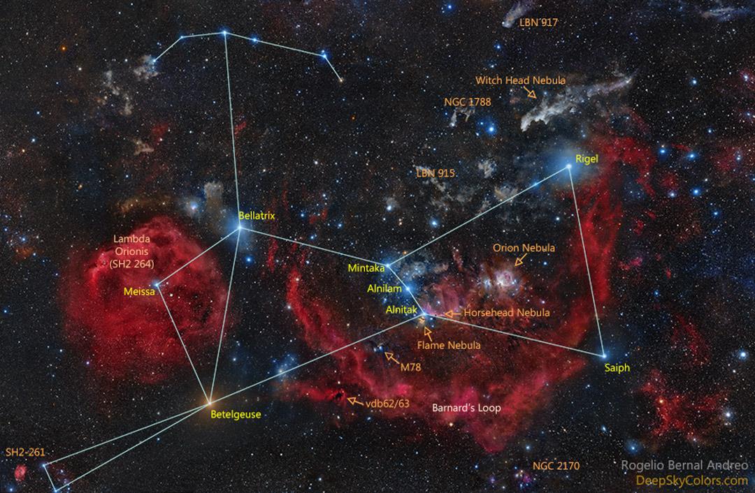 Orión y los nombres oficiales de las estrellas