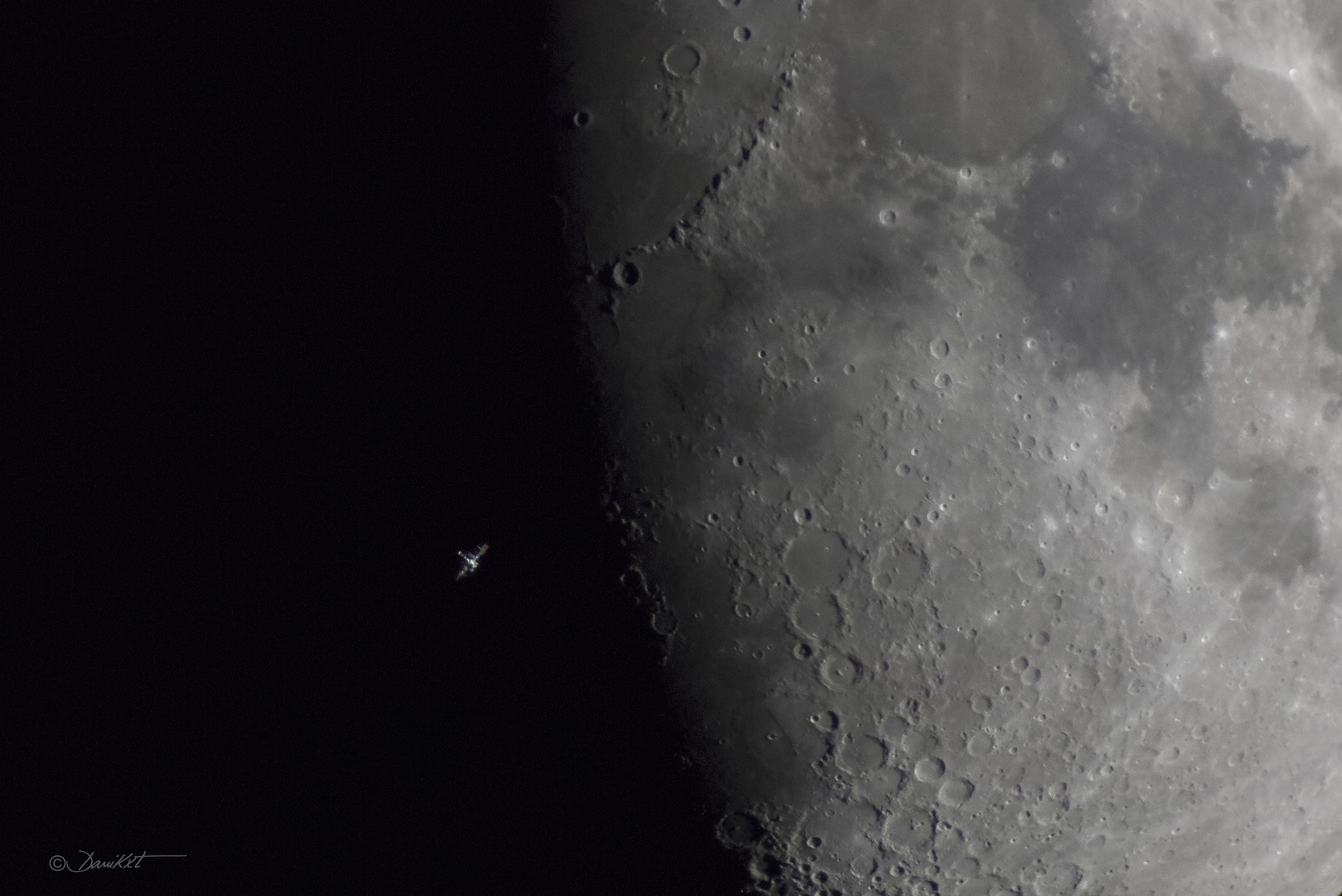 2015 April 27 - Space Station over Lunar Terminator