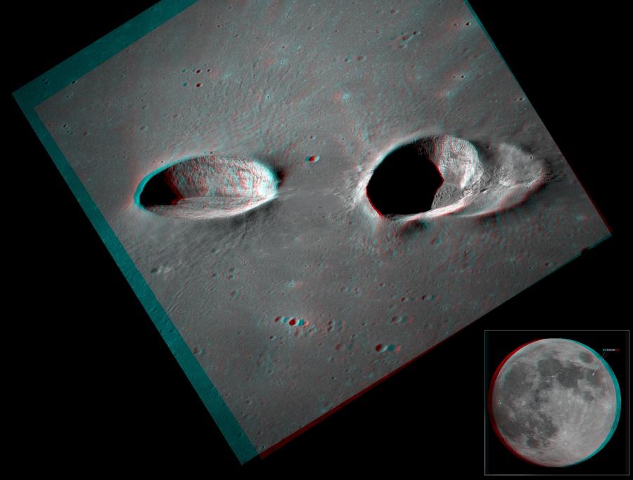 Los cráteres Messier en estéreo