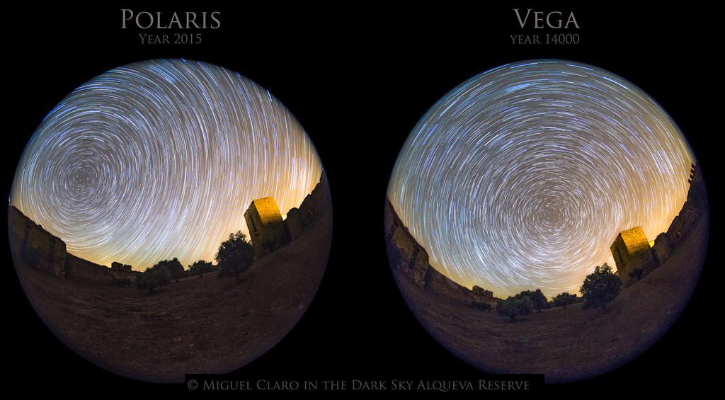 005 - APOD - MAJ 2015. Precession-MC_Map_VEGA-POLARIS-Startrail_cscale1024