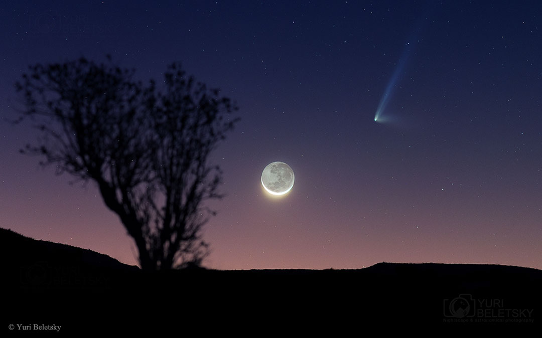 APOD: 2015 July 20 - Comet PanSTARRS and a Crescent Moon