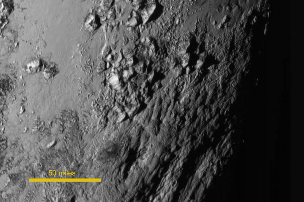80 kilómetros en Plutón