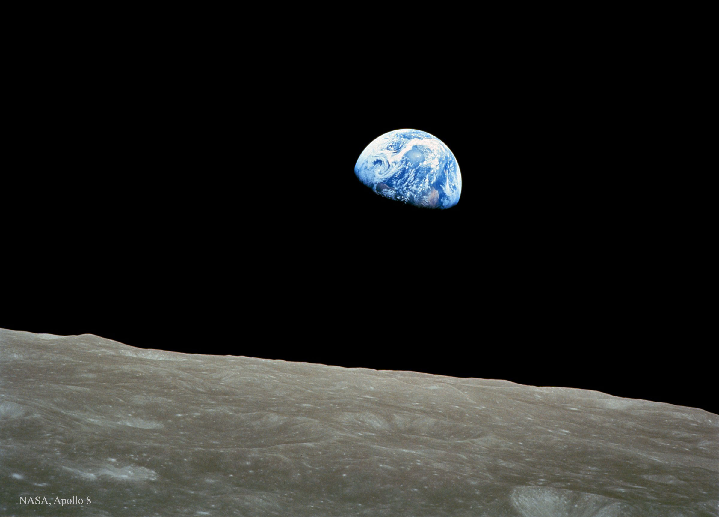 The famous Apollo 8 image of the Earth rising over the Moon