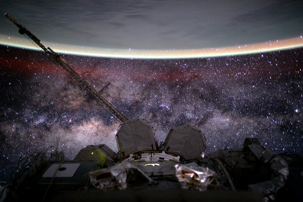 ISS photo of Earth and milky way