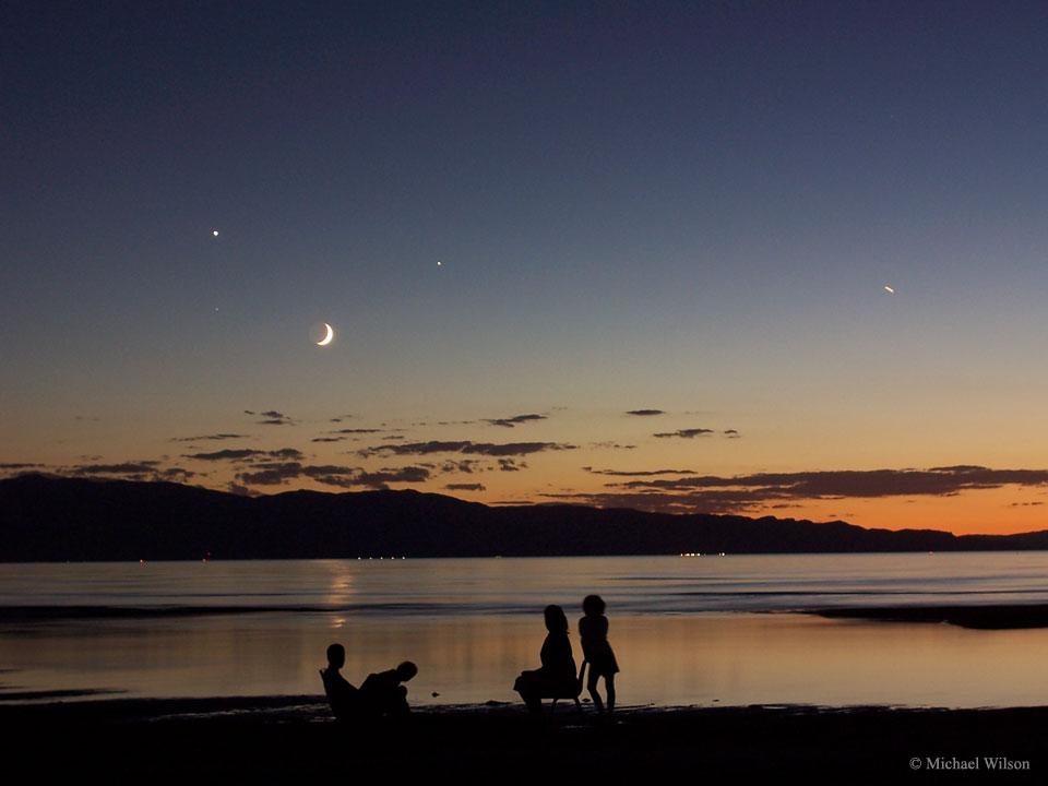 Un cielo cuádruple sobre el Gran Lago Salado