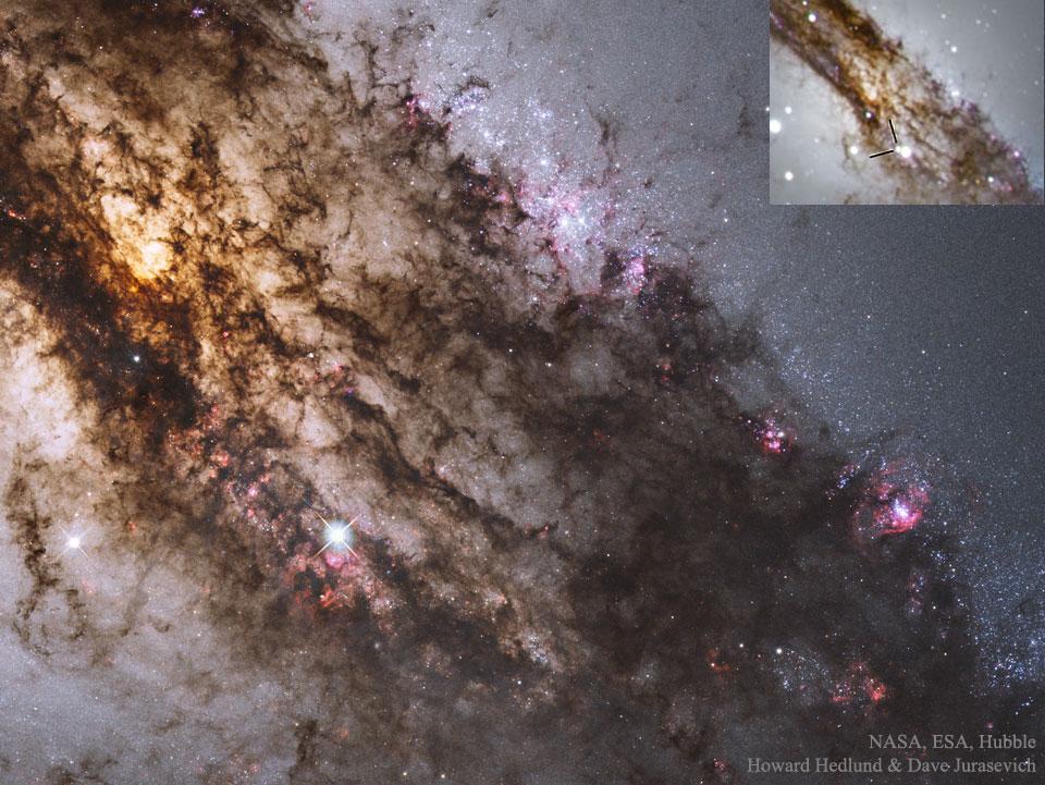 Una supernova a través del polvo galáctico