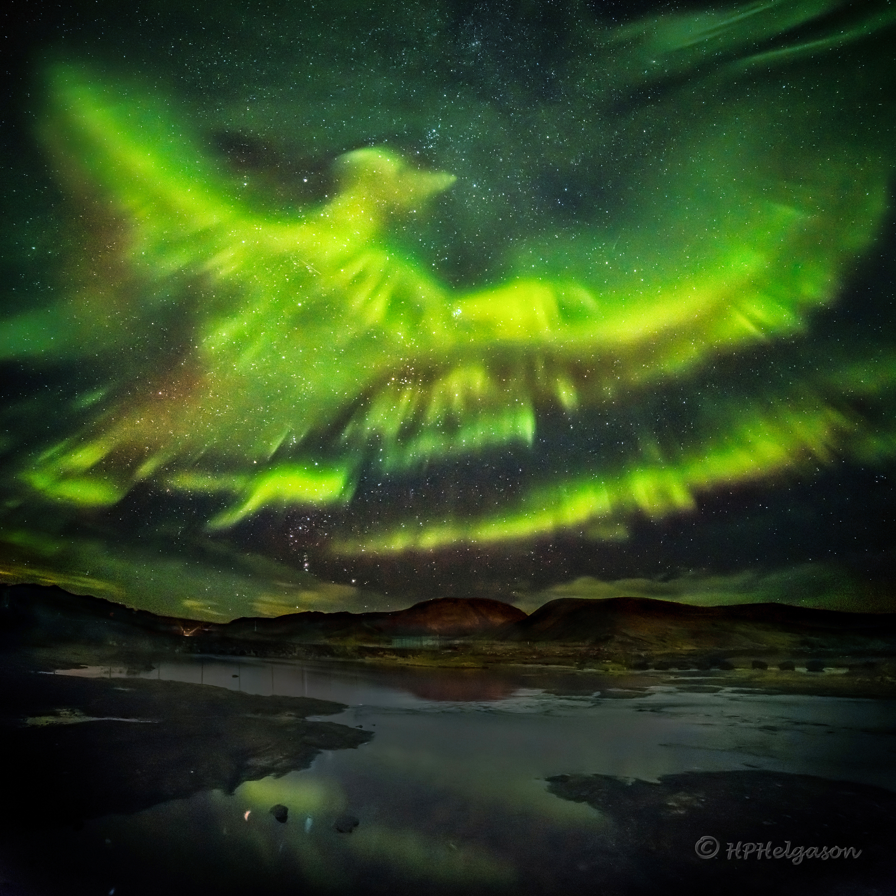 Apod 2016 March 16 A Phoenix Aurora Over Iceland