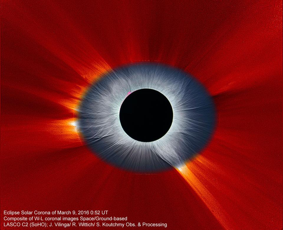 Corona de eclipse solar desde la Tierra y desde el espacio