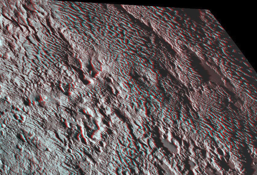 El anguloso terreno de Plutón en 3D