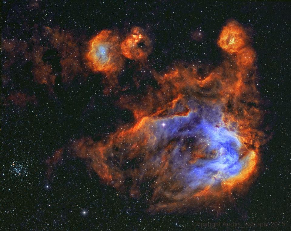 Estrellas y gas de la nebulosa del Pollo Corredor