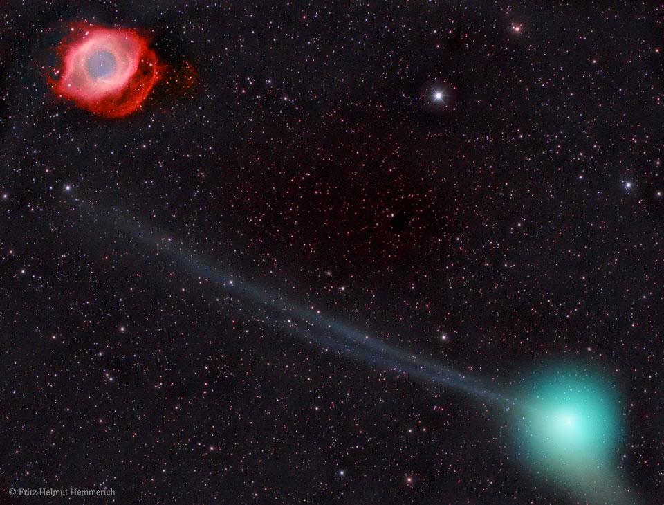 El cometa PanSTARRS y la nebulosa Hélice