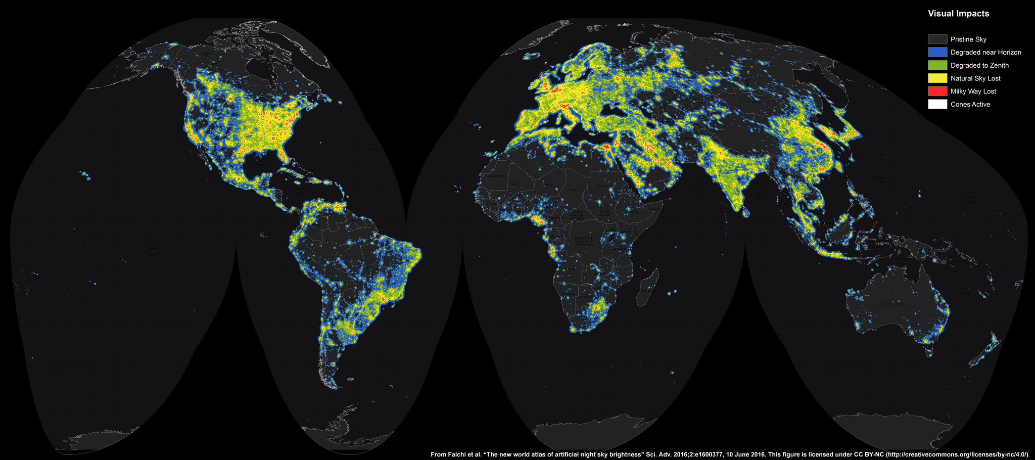 Apod 2016 june 30 the new world atlas of artificial sky brightness in increasing steps this world map medium large gumiabroncs Choice Image