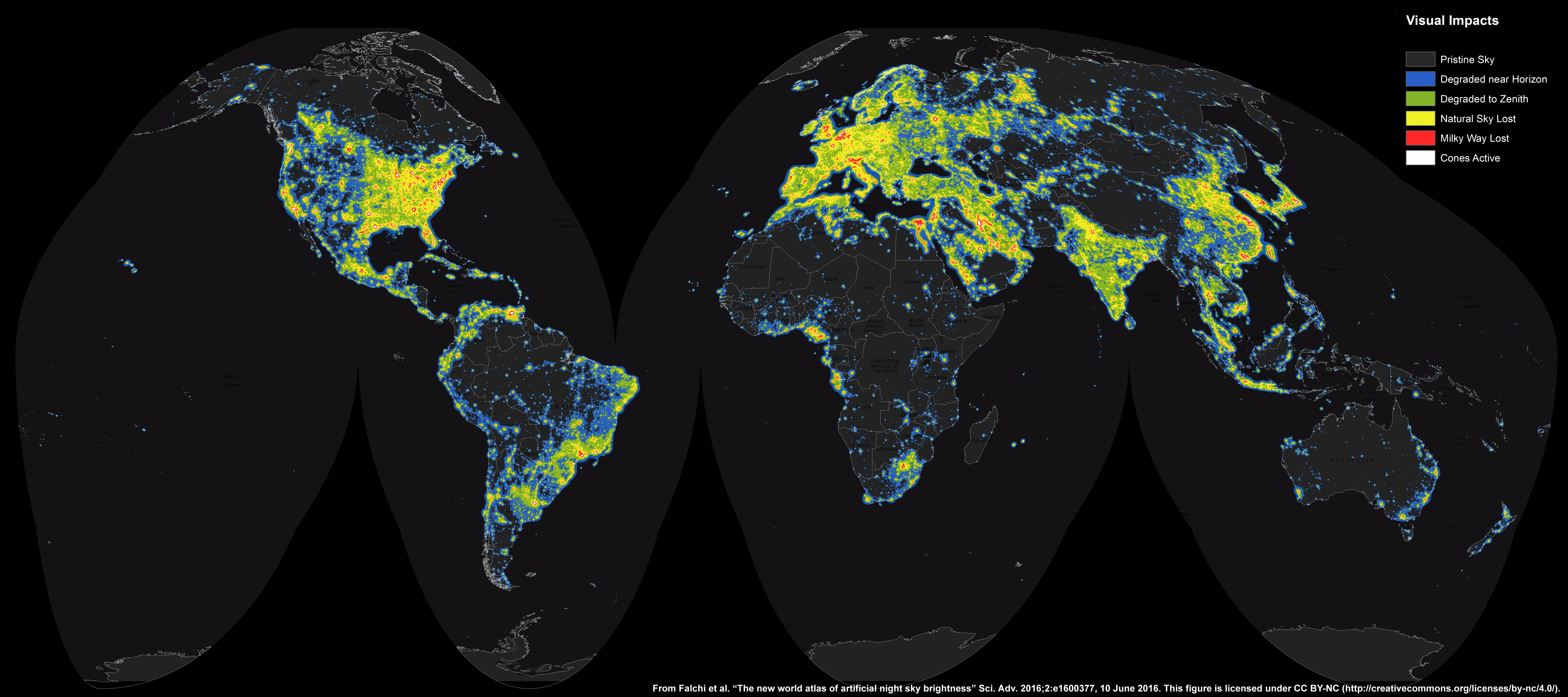 Apod 2016 june 30 the new world atlas of artificial sky brightness in increasing steps this world map medium large shows gumiabroncs Images