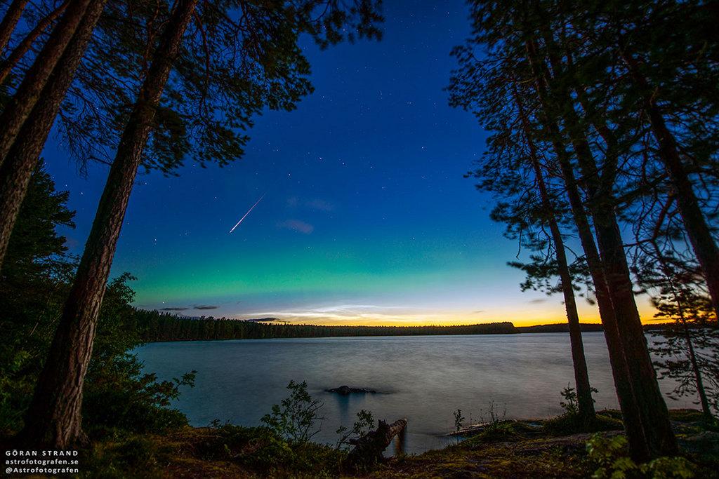 Perseidas, aurora y nubes noctilucentes