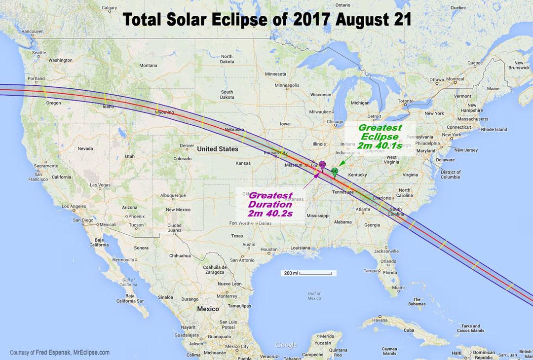 Mapa de la trayectoria del eclipse solar total de agosto de 2017