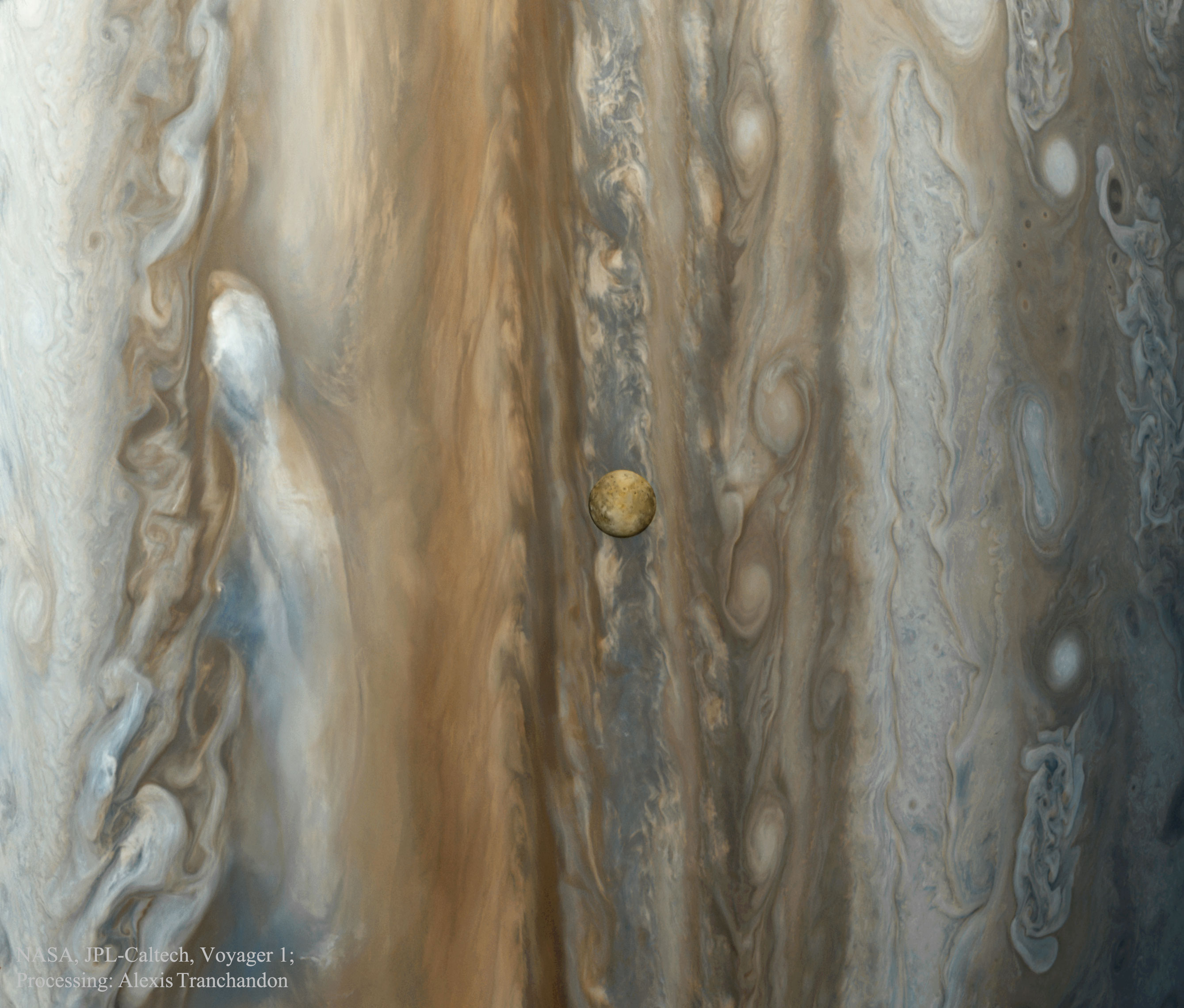 Io over Jupiter from Voyager 1
