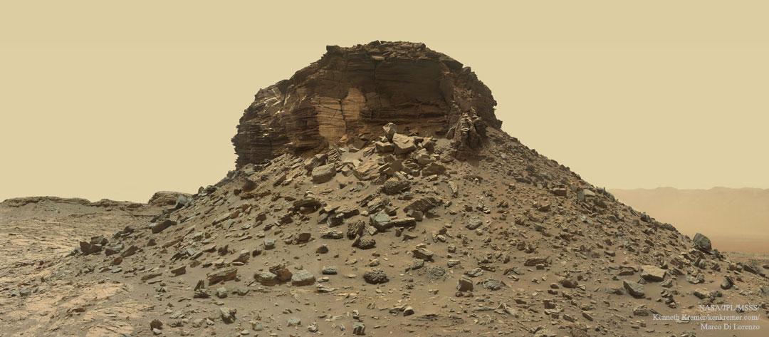 Un butte marciano que se desmenuza