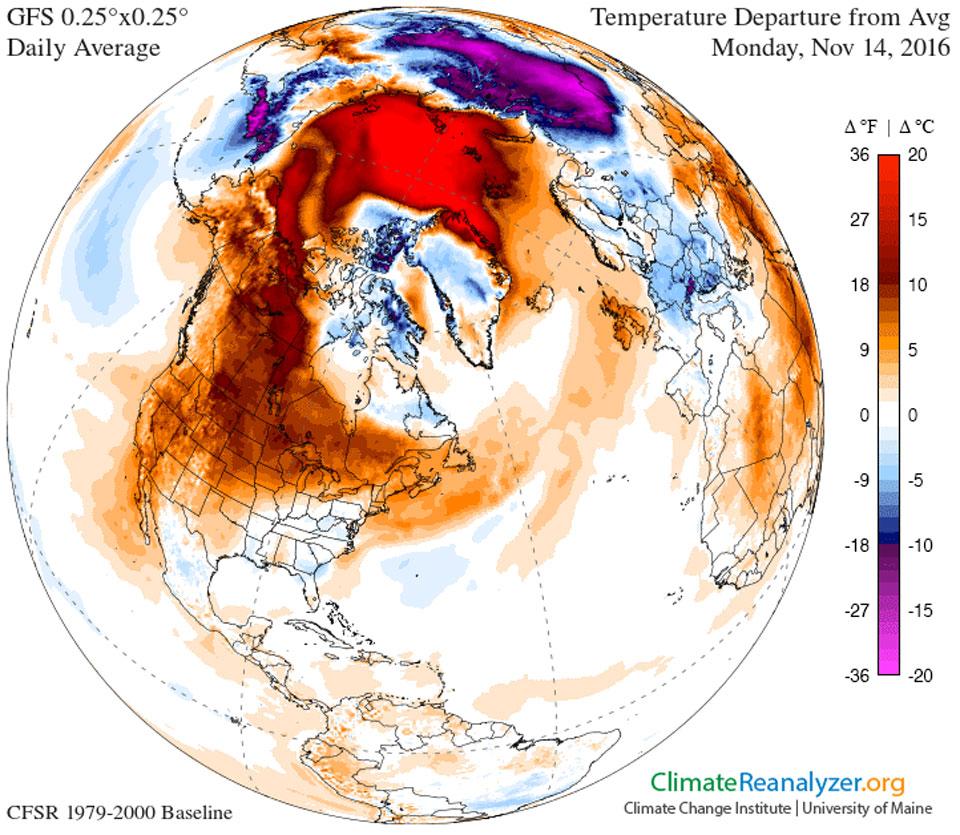 El tiempo frío retrasado sobre América del Norte