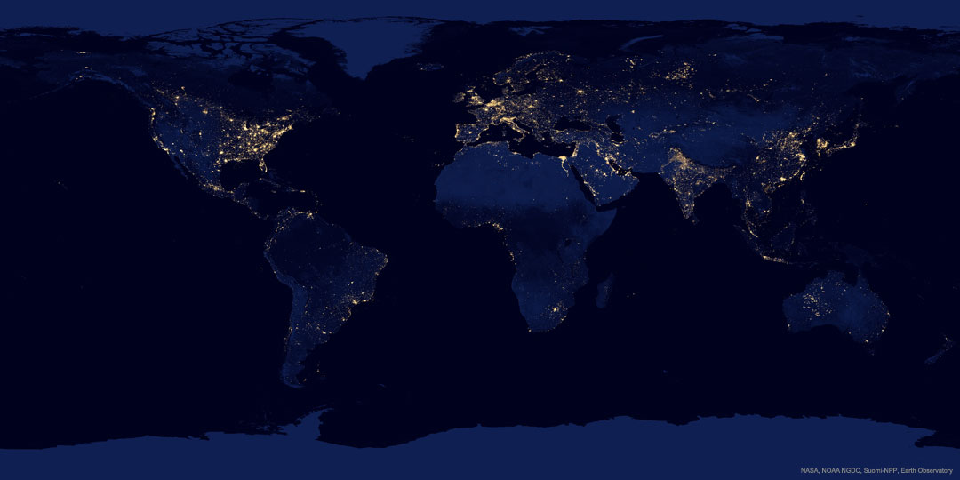 Earth at Night Suomi NPP 2012